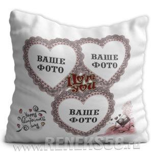 Подушка Рамка сердечки Valentines day