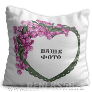 Подушка Рамка сердце цветы с Вашим фото