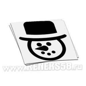 Наклейка на стекло голова Снеговика