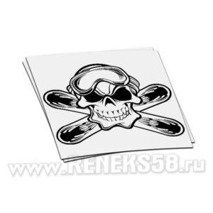 Наклейка Череп в маске скрещены доски