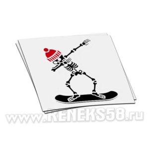 Наклейка Скелет на сноуборде