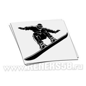 Наклейка Сноубордист в полете руки в стороны