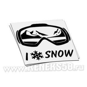 Наклейка маска I love snow
