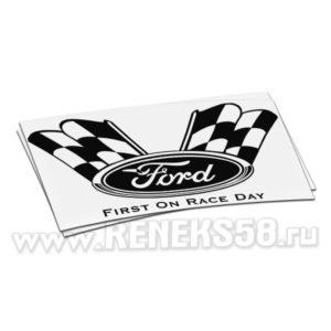 Наклейка Ford эмблема с гоночными флагами