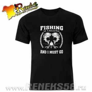 Черная футболка Fishing is calling