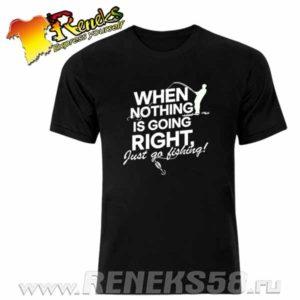 Черная футболка Just go fishing