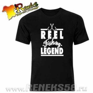 Черная футболка Reel fishing legend