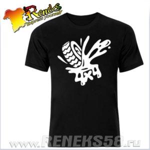 Черная футболка 4х4 колесо