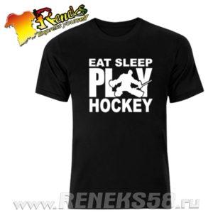 Черная футболка Eat sleep play hockey