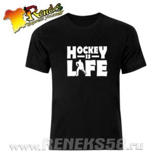 Черная футболка Hockey is life