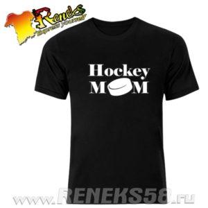 Черная футболка Hockey mom шайба