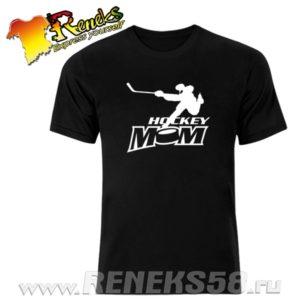 Черная футболка Hockey mom вар1