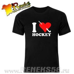 Черная футболка Я люблю хоккей сердце