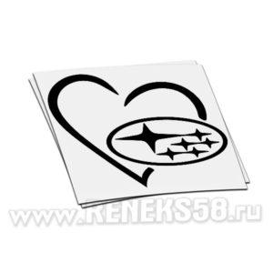 Наклейка логотип Subaru в сердце