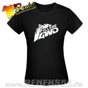 Черная женская футболка FullTime 4wd