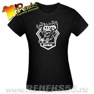 Черная женская футболка ГАЗ с оленем