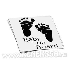 Наклейка Baby on board следы от ножек вар1