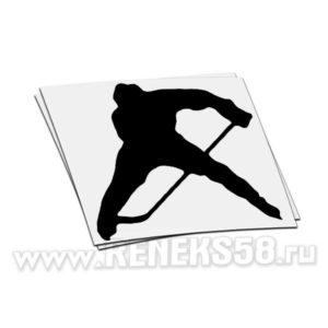 Наклейка Хоккеист с клюшкой силуэт