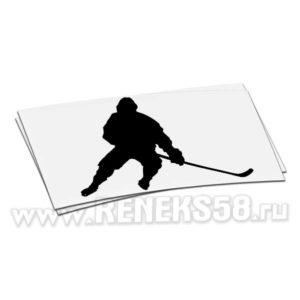 Наклейка Хоккеист с клюшкой силуэт вар1