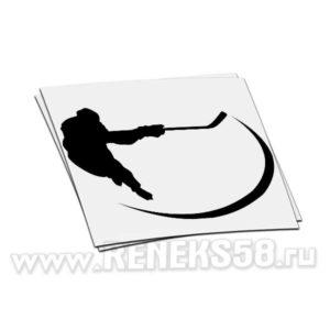 Наклейка Хоккеист с клюшкой силуэт вар2