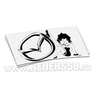 Наклейка логотип Mazda с девушкой