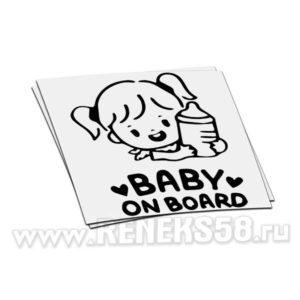 Наклейка Baby on board девочка