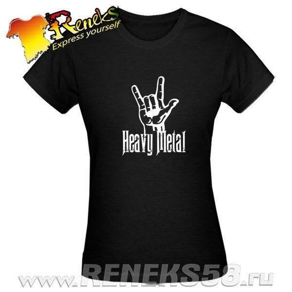 Черная женская футболка Heavy metal